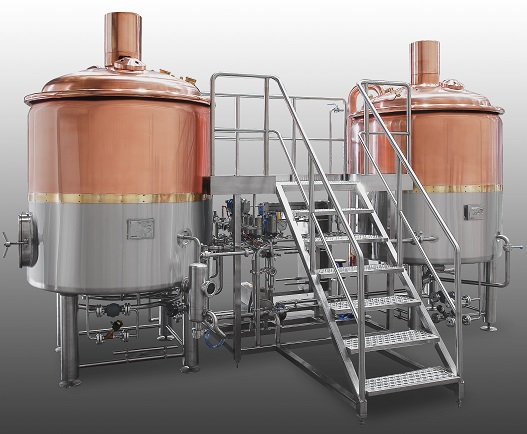 System spotlight copper clad 2 vessel 10 bbl brewhouse for Craft kettle brewing equipment